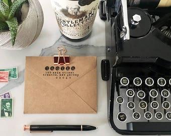Typewriter Stamp, Typewriter Keys, Custom Address Stamp, Self Ink Return Address Stamp, Custom Address Stamps, Wood Mounted Stamps, Weddings