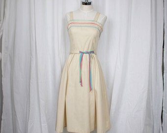 60s 70S Creamsicle Sundress with Pastel Accents in size Small