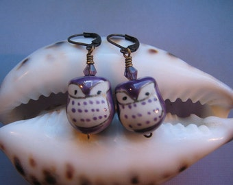 Owl Earrings - Purple Porcelain Owl, Vintage Antiqued Look, Great Owl Gift, jingsbeadingworld inspired by nature, Gift for her
