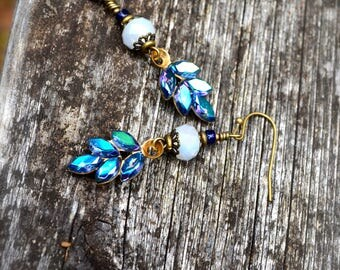 Indigo Swarovski Crystal Earrings with Sparkling Czech Glass beads and brass bead accents something blue handmade jewelry gift