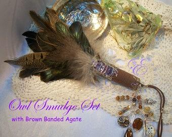 Owl Smudge Fan / Set  - Embellished Feather Fan, Abalone Shell, California White Sage