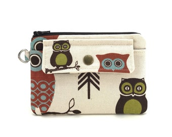 Owl Coin Purse - Owl Zippered Bag - Wallet Pouch - Snap Wallet - Zipper Pouch - Padded Pouch - Gift ideas - Change Purse