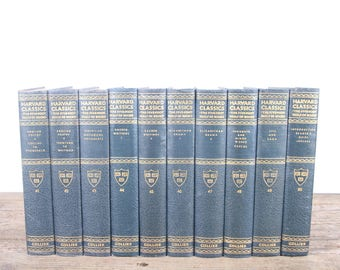 1910 Harvard Classics Book Set / 10 Volume Set / Collier & Son / Old Antique Black Books / Antique History Books / Old Books Vintage Books