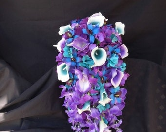 Cascading bridal bouquet, royal blue and royal purple picasso callas, purple blue galaxy orchids