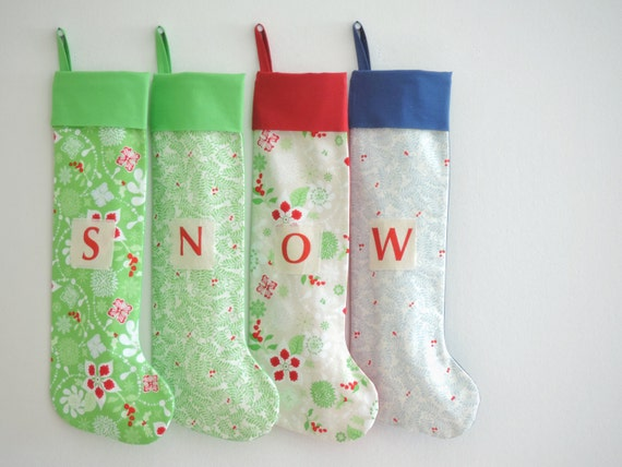 Christmas Stocking Personalized Christmas Stocking, Family Stockings, Modern, Red Green Blue, Cuff, Boy Girl Holiday Stocking, Little Cuff