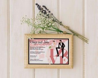 Philadelphia Bridal Shower Invitation, Love Park Bridal Shower Invitation, Bridal Shower Invite Wedding Shower Invitations Wedding Printable