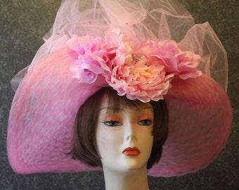 Kentucky Derby Hat, Derby Hat, Garden Party Hat, Tea Party Hat, Easter Hat, Church Hat, Wedding Hat, Downton Abbey Hat, hat Pink Hat 987