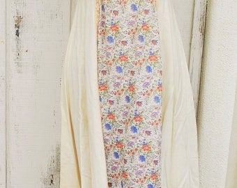 Vintage 1970's Praire Long Dress by Oops! Lace, Floral, Cream, White, Ecru, flowers, boho, hippie, 70's