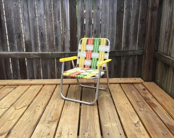 Vintage 70s retro colorful childrens kids lawn patio outdoor folding webbed chair boys girls orange yellow white green aluminum