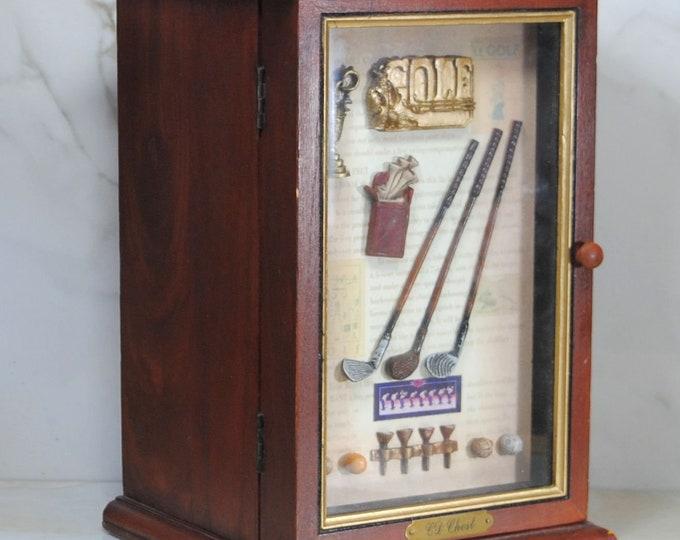 Vintage Aster Gifts, Wooden, Golf Shadow Box, CD Case, Golf Clubs, Golf Bag, Golf Tees, Golf Balls, Golf Trophy, History of Golf, Wooden Box