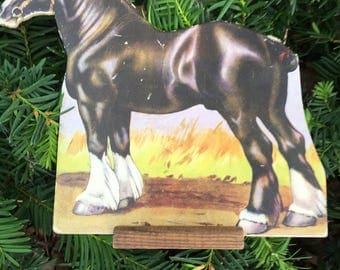 1930's Antique Die Cut Cardboard Standing Lithograph Farm/Shire Horse