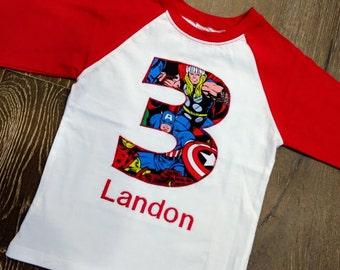 Avengers and Captain America, Hulk, Thor, Iron Man Shirt - Raglan - Your choice of number