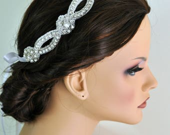Headband - Beaded Trim in Silver Headbands - Wedding Headpiece - Ribbon - Crystal - Accessories - Rhinestone headband
