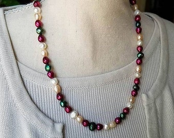 multicolor freshwater pearl necklace beaded necklace pearl beaded necklace red pearl green pearl white pearl necklace 18 inch single strand