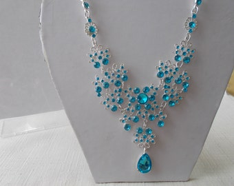SALE Silver Tone and Blue Crystal Bib Necklace on a Silver Tone Chain