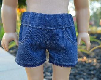 18 inch doll shorts, American Girl doll clothes, AG, denim shorts