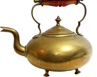 Vintage Brass Teapot / Hammered Finish / Amber Glass Handle / Tea Kettle