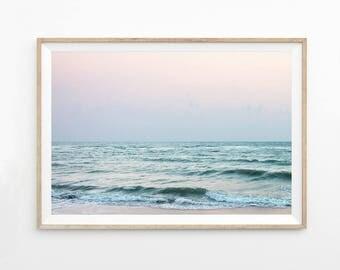 Abstract Ocean Print, Pink Wall Art, Seascape Photography Download Ocean Art Printable Photo Coastal Art Print Beach Waves Pastel Art  b7c5c