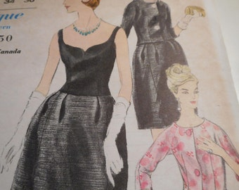 Vintage 1960's Vogue 5719 Special Design Dress and Jacket Sewing Pattern SIze 14 Bust 34