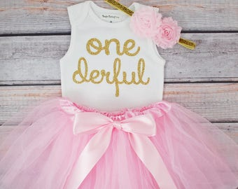 One-derful First birthday outfit girl light pink and gold birthday outfit 1st birthday girl outfit Baby girl first birthday outfit Onederful