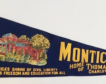 Vintage 'Monticello: Charlottesville, VA, Home Of Thomas Jefferson' Virginia Pennant