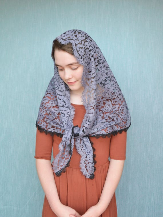 Large Smoke Blue Spanish Lace Mantilla | Catholic Chapel Veil Catholic Mantilla Grey Chapel Veil Mass Veil for Mass Robin Nest Lane
