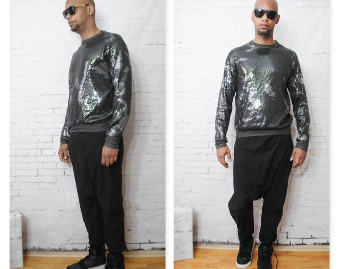 Camouflage Sequin Printed Sweatshirt With Plain Back Grey Balmain Gucci Heather Grey