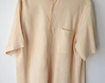 Yellow linen shirt XL oversized  Summer casual shirt Mens linen top Slouchy loose fit Button down  Short sleeved soft pale yellow shirt XL