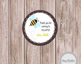 PRINTABLE Buzz on Over Bee Favor Tag or Sticker PDF