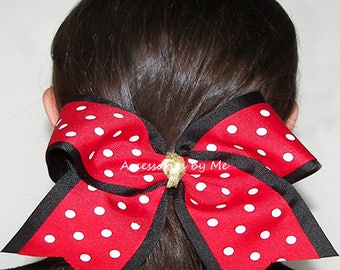 Red Black Cheer Bow, Red Polka Dot Dance Bow, Red Cheerleader Spirit Team Bows, Red Black Softball Bow, Red Black Volleyball Bow, Bulk Price