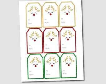 Printable Christmas Tags, Christmas Gift Tags, Reindeer Tags, Instant Download