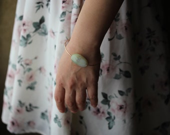 Simple Boho Bangle - Green Opal Jewelry - 14K Gold Filled