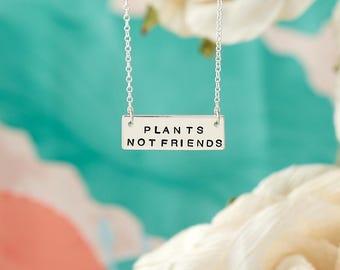 Vegan Necklace - Plants Not Friends - Vegan Gift - Vegan Jewellery - Rectangular Bar Necklace - Sterling Silver - Hand Stamped - UK