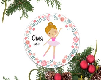 Ballerina Ornament, Dance Recital Ornament, Personalized Christmas Ornament, Little Girl Ornament, Ceramic Dance Ornament, Dancer Gift