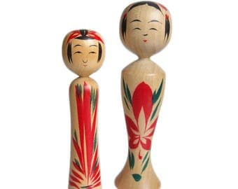 Cute Pair of Vintage Kokeshi Dolls. Traditional (Dento) Kokeshi, Naruko Kokeshi. Japanese Kokeshi Doll. Japanese Doll. Kokeshi Doll. Wood