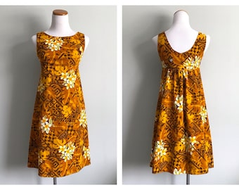 Vintage 1960's Hawaiian Dress Mini Dress Empire Waist Barkcloth Tropical Luau Party White Gold Brown Short Tiki Dress Size XS Small 0 2 4