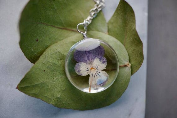 REAL FLOWER Pansy Necklace - Glass Purple and Yellow Pansy Real Flower Necklace - Feminine Gift for Women - Free Postage Worldwide