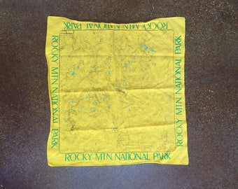 Vintage Rocky Mountain National Park Cloth Bandana Map 1980's