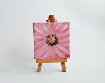 Pink Flower - ORIGINAL mini oil painting - 3 x 3 in. on canvas