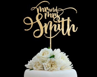 Customized Wedding Cake Topper, Personalized Cake Topper for Wedding, Custom Personalized Wedding Cake Topper, Last Name Cake Topper # 01