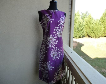 Alfred Shaheen Purple Dress With Metallic Flowers