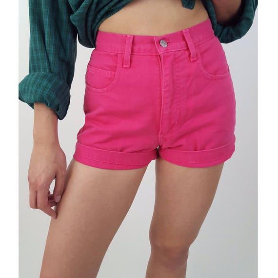 80's GUESS Hot Pink Jean Shorts - Size 4 High Waist Denim Shorts - Small Vintage Highwaist Summer Shorts - Women Vintage Bright Cutoffs 26