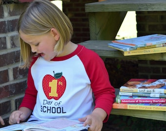 1st Day of School Shirt, Embroidered Apple Top, Kid's Raglan Tee, Back to School T-shirt, 1st 2nd 3rd 4th 5th Grade, Kindergarten, Preschool