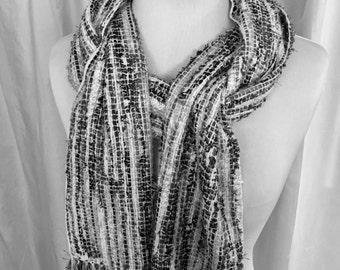 Winter Nights Handwoven Scarf, Gray Scarf, White Scarf, Hand Woven Scarf, Woven Scarf, Handmade Scarf, Cozy Scarf, Fashion Scarf,