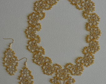 tatting lace jewelry -gold-