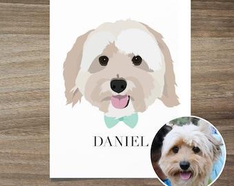 Custom Dog Portrait, Custom Dog Portrait with Bow-Tie, Custom Pet Portrait, Custom Dog Art, Dog Lover Gift, Dog Lover Gift, Custom Dog Print