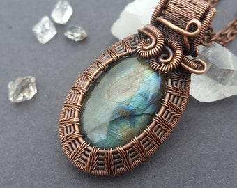 Wire Wrapped Jewelry, Labradorite Necklace Wire Wrap, Oxidized Copper Jewelry, Wire Wrapped Necklace, Antique Copper, Wired Gemstone Pendant