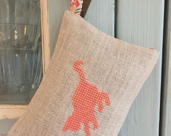 Handmade Cross Stitch Cat Playing Lavender Sachet Liberty of London Fabric