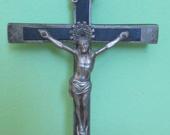 Original 1920's German Roman Catholic Mission Cross Crucifix - Skull & Crossbones - Free Shipping