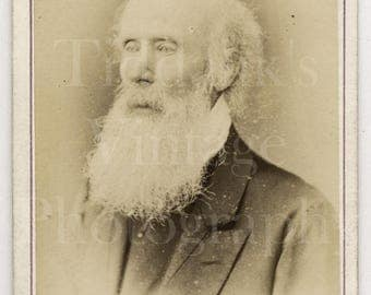 CDV Photo Victorian Bearded Old Man, Huge White Beard Portrait - J. Reay of St. Bees College - Carte de Visite Antique Photograph